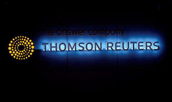 A Thomson Reuters logo is pictured on a building during the World Economic Forum (WEF) annual meeting in Davos, Switzerland. Photo: Reuters
