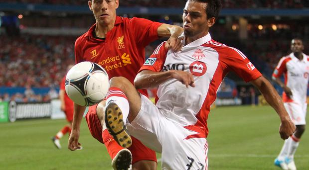 Krisztian Adorjan in action for Liverpool in a friendly against Toronto in 2012