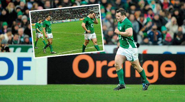 Cian Healy leaves the pitch after he was sin-binned in 2010 and (inset) dejection after the match
