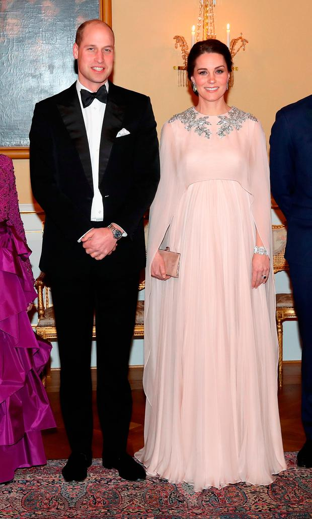 Prince William, Duke of Cambridge and Catherine, Duchess of Cambridge attend a dinner at the Royal Palace on day 3 of their visit to Sweden and Norway on February 1, 2018 in Oslo, Norway. (Photo by Chris Jackson - Pool/Getty Images)
