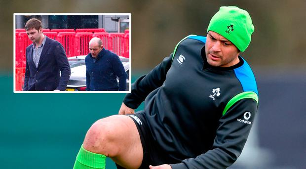 Rory Best and (inset) with Iain Henderson outside Belfast Crown Court