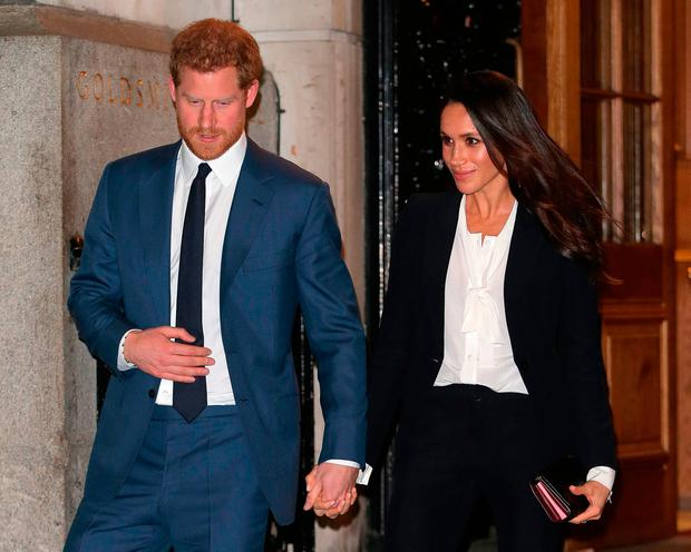 Prince Harry and fiance Meghan Markle leave the 'Endeavour Fund Awards' Ceremony at Goldsmiths Hall on February 1, 2018 in London, England