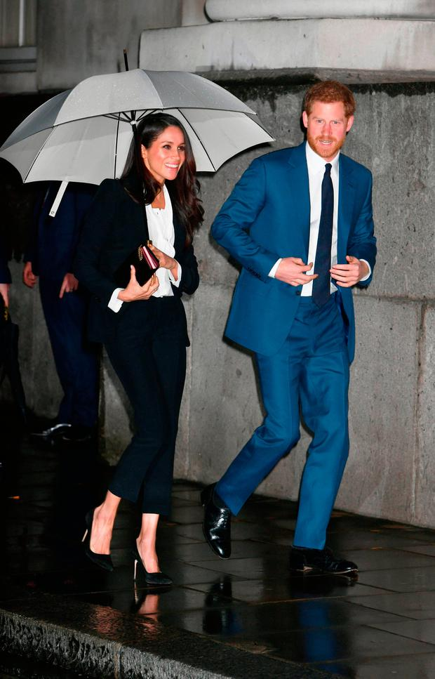 Prince Harry and Meghan Markle arrive to attend the annual Endeavour Fund Awards at Goldsmiths' Hall in London, to celebrate the achievements of wounded, injured and sick servicemen and women who have taken part in sporting and adventure challenges over the last year