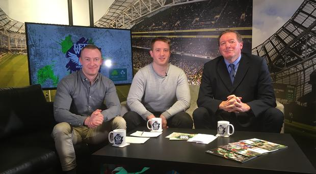 Will Slattery (left), Luke Fitzgerald (centre) and Neil Francis (right).