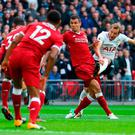 Tottenham's Harry Kane scores his side's first goal despite the close attention of Liverpool's Dejan Lovren during the Wembley rout earlier this season. That defeat was a rude awakening for Jurgen Klopp. Photo: Richard Heathcote/Getty Images)