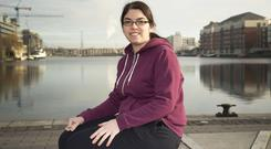 Laura Murray at Grand Canal Dock, Dublin. Laura visits a counsellor to cope with her anxiety. Photo: Colin O'Riordan