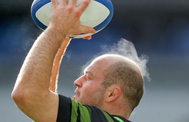 Ireland captain Rory Best practising his throwing in the Stade de France yesterday. Photo: INPHO