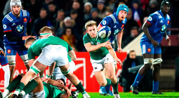 Jonathan Stewart of Ireland during the U20 Six Nations Rugby Championship match between France and Ireland at the Stade Amédée Domenech in Brive, France. Photo by Manuel Blondeau/Sportsfile