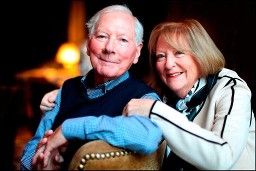 Broadcaster Gay Byrne and his wife Kathleen Watkins. Photo: David Conachy