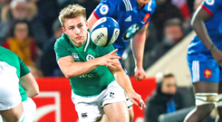Jonathan Stewart in action for Ireland during last night's U-20 Six Nations match in Brive. Photo: Sportsfile