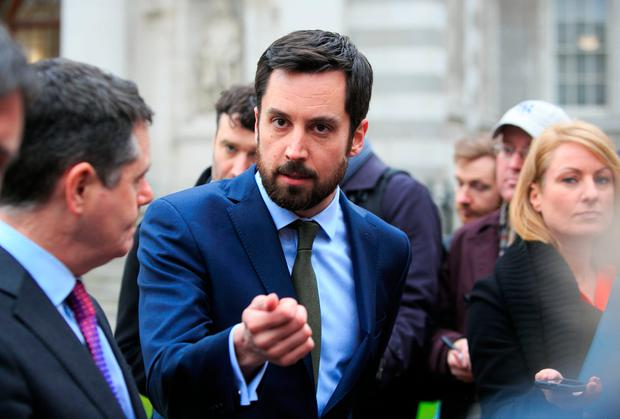 Housing Minister Eoghan Murphy speaking to the media on an update on the establishment of Home Building Finance Ireland this week. Photo: Gareth Chaney