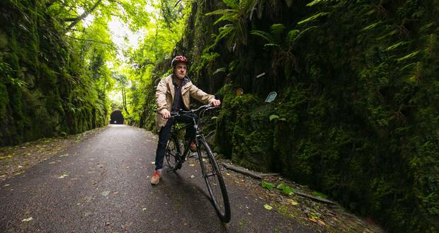 Joe O'Shea cycling the Waterford Greenway