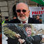 Senator David Norris joins Irish campaigners during a recent protest over Israeli action against the Palestinians. Photo: Niall Carson/PA Wire