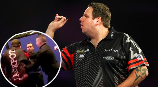 Adrian Lewis and (inset) the altercation with Jose Justicia