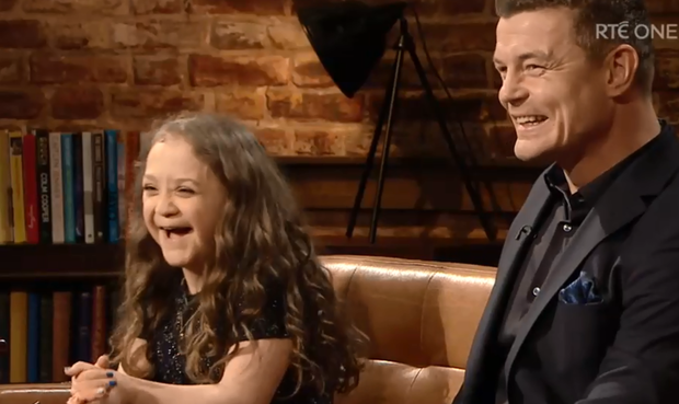 Brian O'Driscoll and Michaela Morley appear on the Late Late Show. Photo: RTE
