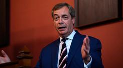 Nigel Farage, ex-leader of Britain's UK Independence Party (UKIP), speaks at Trinity College in Dublin