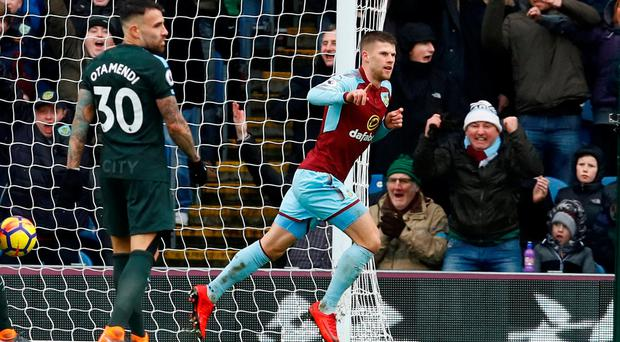Burnley's Johann Berg Gudmundsson celebrates scoring their equaliser