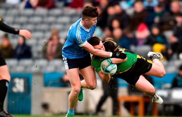 3 February 2018; Neil Morris of Michael Glaveys is tackled by Ryan Coleman of Moy Tír na nÓg during the AIB GAA Football All-Ireland Intermediate Club Championship Final match between Michael Glaveys and Moy Tír na nÓg at Croke Park in Dublin. Photo by Piaras Ó Mídheach/Sportsfile