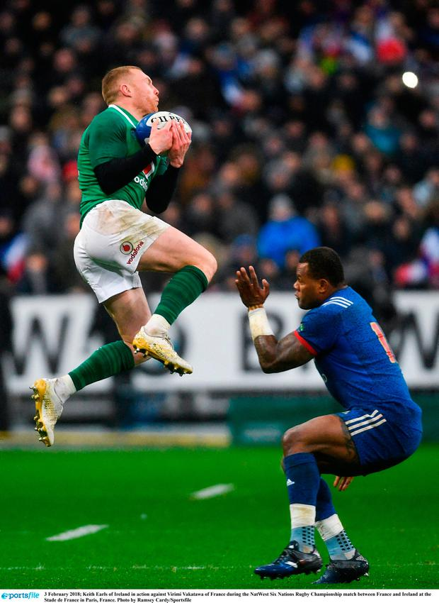 Keith Earls of Ireland in action against Virimi Vakatawa of France during the NatWest Six Nations Rugby Championship match between France and Ireland at the Stade de France in Paris, France. Photo by Ramsey Cardy/Sportsfile