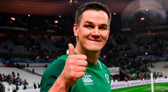 A beaming Johnny Sexton leaves the field at Stade de France. Photo: Sportsfile