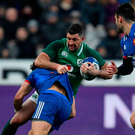 Ireland's full-back Rob Kearney vies with France's players. Photo: Getty Images