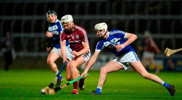Pádraig Breheny of Galway in action against Cian Taylor of Laois during the Allianz Hurling League Division 1B Round 2 match between Laois and Galway at O'Moore Park in Portlaoise, County Laois. Photo by Daire Brennan/Sportsfile