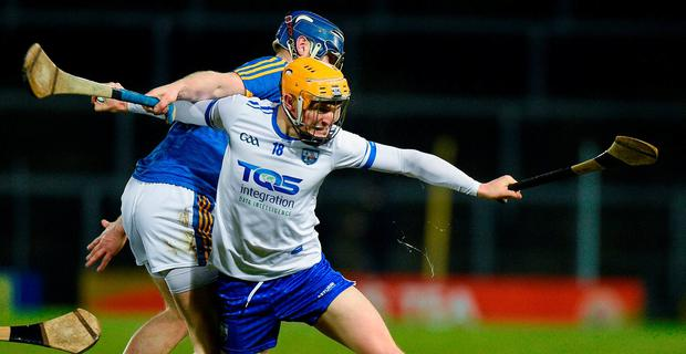 Peter Hogan of Waterford in action against Tomas Hamill of Tipperary during the Allianz Hurling League Division 1A Round 2 match between Tipperary and Waterford at Semple Stadium in Thurles, County Tipperary. Photo by Matt Browne/Sportsfile