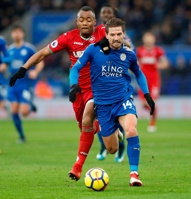 Leicester City's Adrien Silva in action with Swansea City's Jordan Ayew. Photo: Carl Recine/Reuters