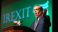 EUROSCEPTIC: Former UKIP leader Nigel Farage speaking at the Irexit, Free to Prosper conference in RDS. Photo: Frank McGrath