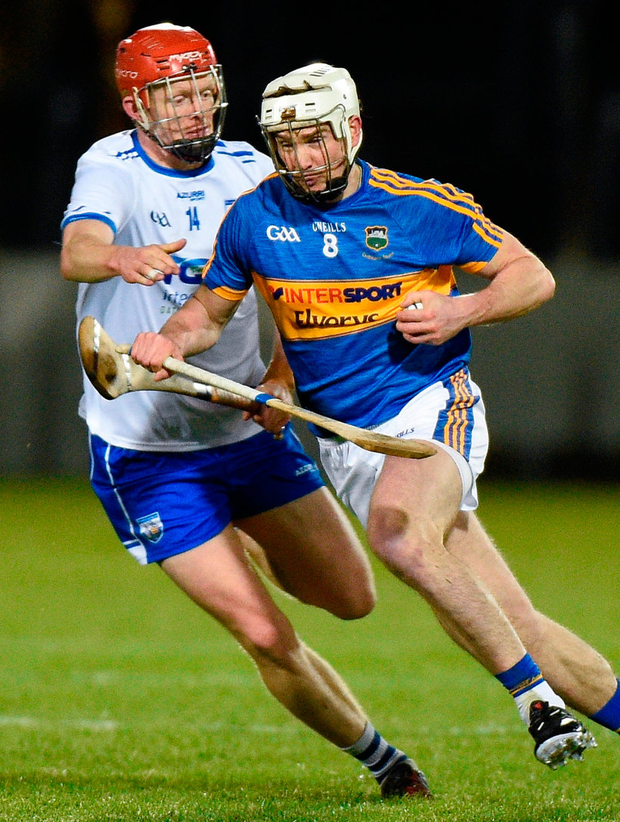 Tipperary's Brendan Maher in action against Waterford's DJ Foran. Photo: Matt Browne/Sportsfile