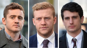 ON TRIAL: From left to right, Ireland and Ulster player Paddy Jackson, 26, his team-mate Stuart Olding, 24, and third defendant Blane McIlroy, 26, arrive at Belfast Crown Court last week