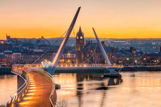 CO-OPERATION: Derry city seen over the Peace Bridge