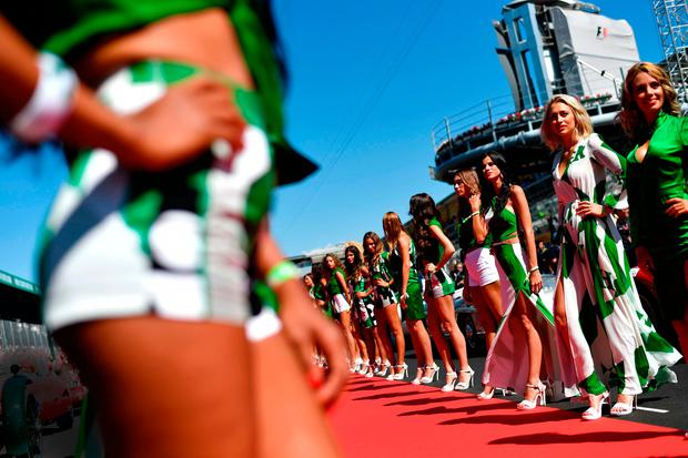 TOO RACY: Grid girls line up for the pit lane walk ahead of the Italian Grand Prix at Monza last September