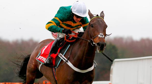 Buveur D'Air and Barry Geraghty pull away from the last flight before going on to win The Betfred 'Supports Jack Berry House' Contenders Hurdle Race at Sandown Park. Photo: Julian Herbert/PA