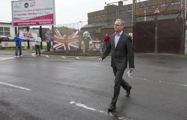 Sinn Fein's Gerry Kelly outside Antrim Police station in 2014 Pic:Mark Condren