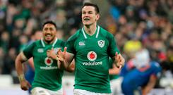 Ireland's fly-half Jonathan Sexton celebrates after scoring a drop goal during the Six Nations rugby union match between France and Ireland at the Stade de France
