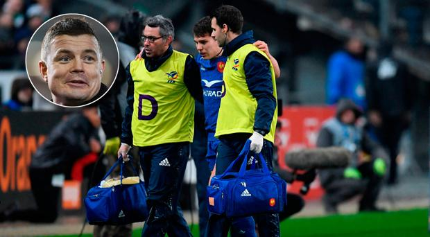 Brian O'Driscoll (inset) was not happy that Antoine Dupont underwent a HIA when he clearly suffered a knee injury