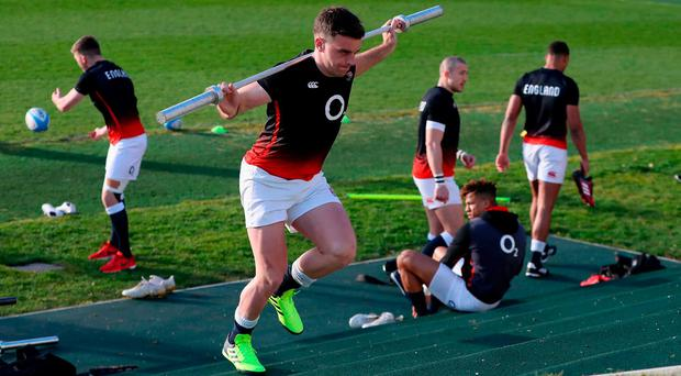 George Ford takes part in sprint training during the England training session held at Pennyhill Park