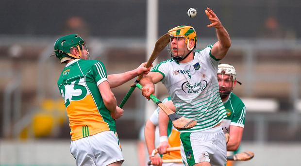 Diarmuid Byrnes of Limerick in action against Tommy Gerraghty of Offaly during the Allianz Hurling League Division 1B Round 2 match bewteen Offaly and Limerick at Bord Na Móna O'Connor Park, in Tullamore, Offaly. Photo by Daire Brennan/Sportsfile