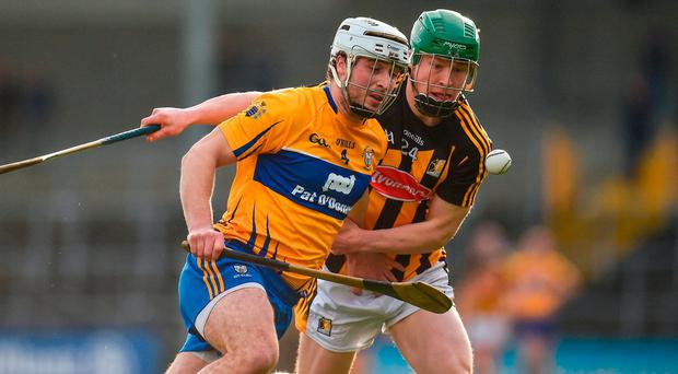 Patrick O'Connor of Clare in action against Martin Keoghan of Kilkenny during the Allianz Hurling League Division 1A Round 2 match between Kilkenny and Clare at Nowlan Park, in Kilkenny. Photo by Seb Daly/Sportsfile