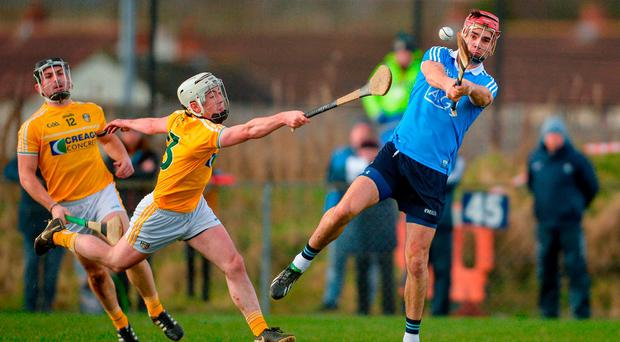 Donal McKinley of Antrim in action against Danny Sutcliffe of Dublin during the Allianz Hurling League Division 1B Round 2 match between Antrim and Dublin at Corrigan Park, in Belfast, Antrim. Photo by Mark Marlow/Sportfile