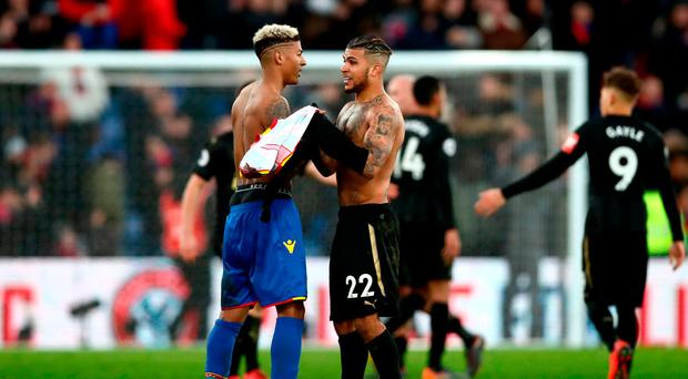 Newcastle United's DeAndre Yedlin (right) and Crystal Palace's Patrick van Aanholt after the Premier League match at Selhurst Park