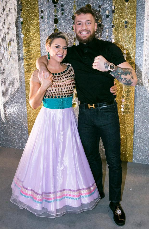 Conor mc Gregor with his Sister Erin ,during the Fifth Live show of RTE's Dancing with the Stars. Photo: Kyran O'Brien