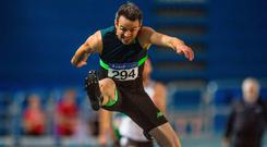 Thomas Barr in action in the men's 400m hurdles at yesterday's Irish Life Health AAI Indoor Games. Photo by Eóin Noonan/Sportsfile