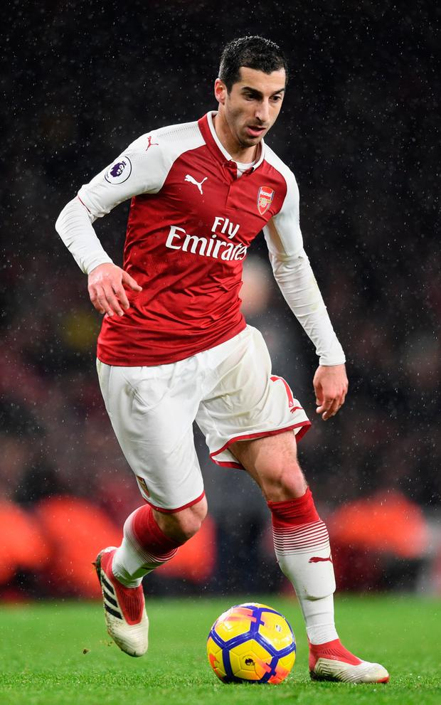 Henrikh Mkhitaryan in action for Arsenal against Everton at Emirates Stadium. Photo by Michael Regan/Getty Images