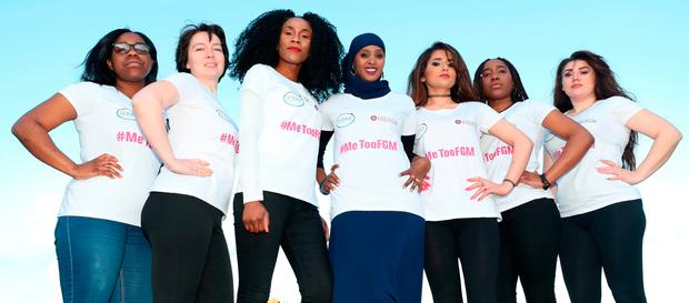 At the launch of #MeTooFGM, a worldwide social media campaign against female genital mutilation (FGM), in Dublin are (l-r) Soky Malaka, Taya Simakova, Vanessa Manunga, Ifrah Ahmed, Zhiyan Karimi, Muwa Malaka and Klaudia Okros. Ms Ahmed (29) was born in Somalia and survived the barbaric practice. Photo: Niall Carson