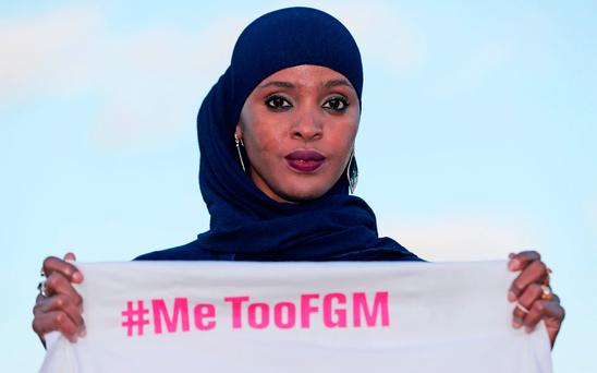 Ifrah Ahmed launches #MeTooFGM, a worldwide social media campaign against female genital mutilation (FGM), in Dublin city centre. Photo: Niall Carson /PA