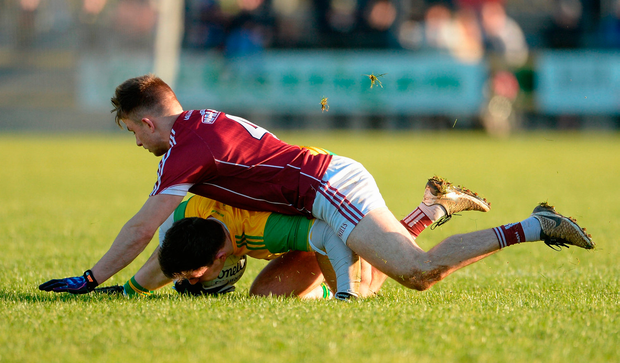 Patrick McBrearty of Donegal in action against Eoghan Kerin of Galway. Photo by Oliver McVeigh/Sportsfile
