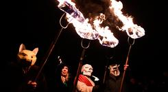 Festival of flames lights up 'Biddy's Day'. REUTERS/Clodagh Kilcoyne