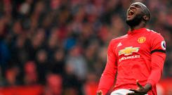 Romelu Lukaku shows his frustration during Manchester United's victory over Huddersfield. Photo: Getty Images